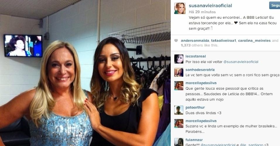 26.fev.2014 - Susana Vieira revelou que torceu por Letícia em um post no Instagram.