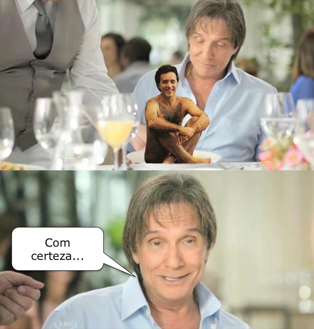 26.fev.2014- Roberto Carlos virou piada na internet após o comercial dele pra a Friboi ir ao ar na televisão