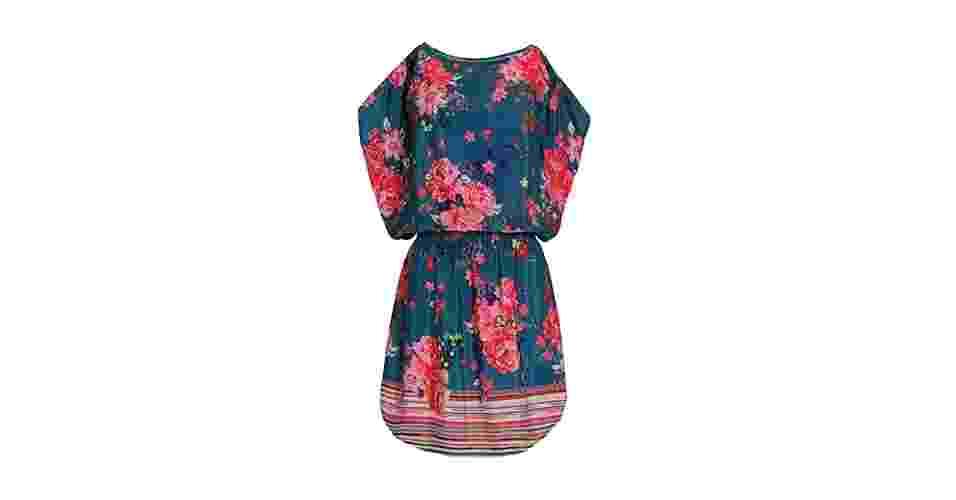 Vestido azul com estampa floral e barrado listrado; R$ 59,90. na C&A (www.cea.com.br). Preço pesquisado em fevereiro de 2014 e sujeito a alterações - Divulgação