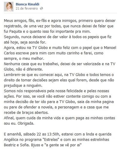 21.fev.2014 - Bianca Rinaldi respondeu às críticas dos fãs no Facebook