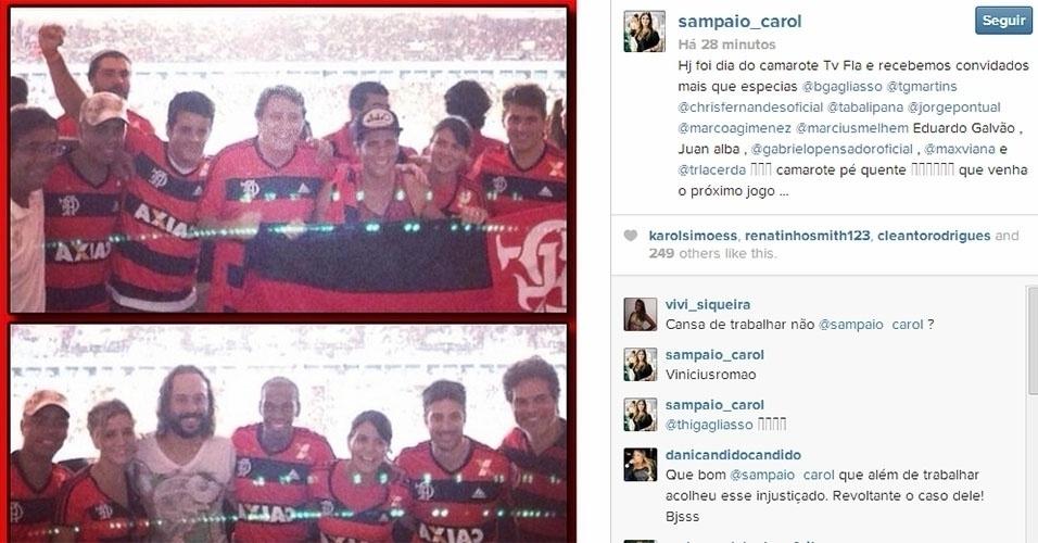 27.fev.2014 - A promoter Carol Sampaio postou em seu Instagram uma foto de Vinícius Romão no Maracanã para ver o jogo