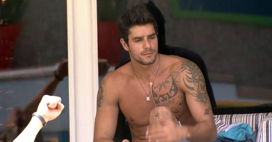 """27.fev.2014 - Diego  critica desempenho de Franciele em prova: """"Deu mole"""""""