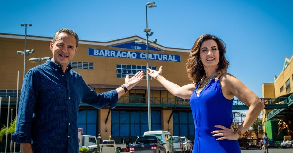 Fátima Bernardes e Luís Roberto na Cidade do Samba