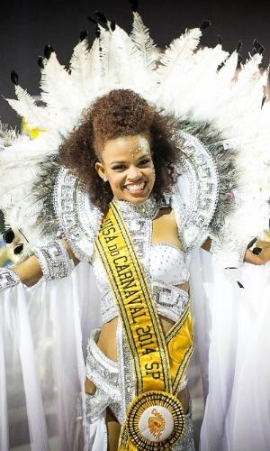 """1º.mar.2014 - A Musa do Carnaval 2014, eleita pelo programa """"Caldeirão do Huck"""" (Globo), na concentração da Pérola Negra"""