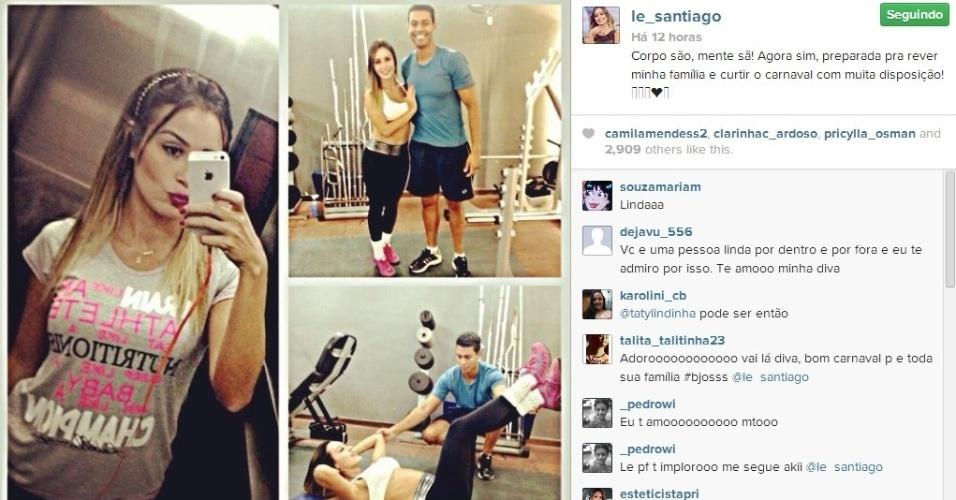 """28.fev.2014 - Letícia posta foto malhando e escreve: """"Corpo são, mente sã!"""""""