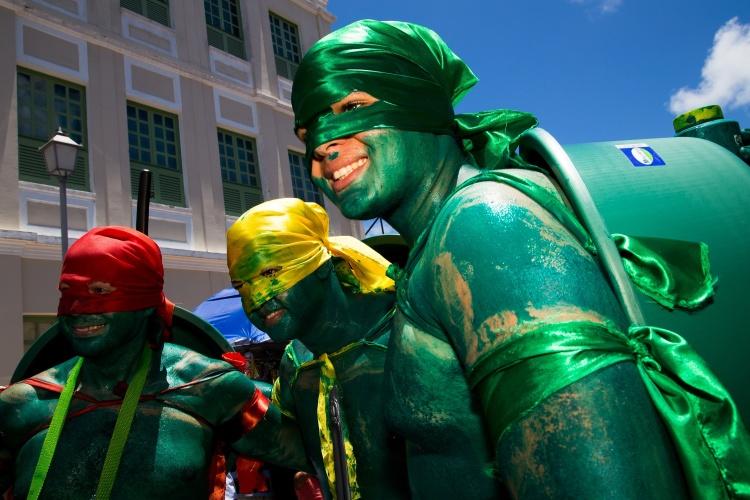 2.mar.2014 - Com tinta verde pelo corpo, bacias de plástico como casco e máscaras de faixas de cetim, foliões improvisam fantasias de Tartarugas Ninjas