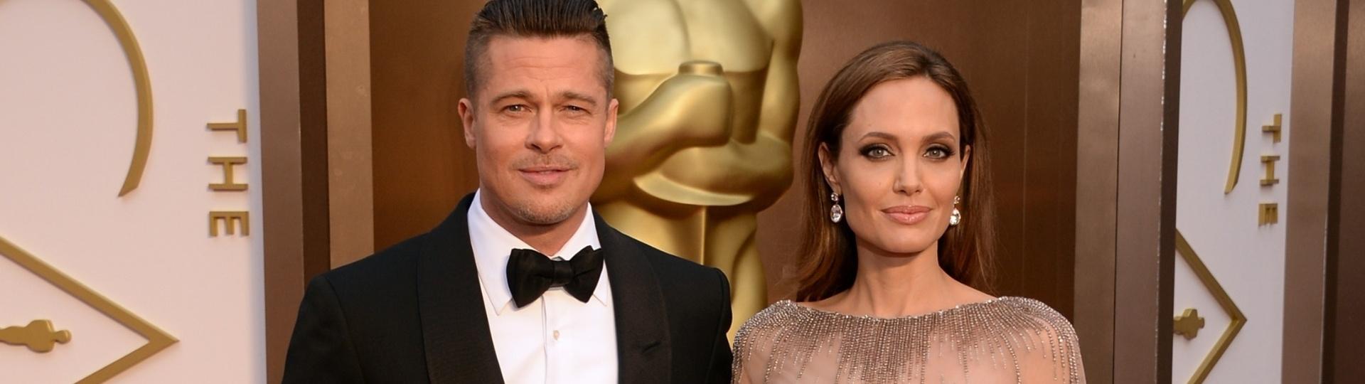 2.mar.2014 - O casal de atores Angelina Jolie e Brad Pitt chega ao Dolby Theatre para a 86 edição do Oscar