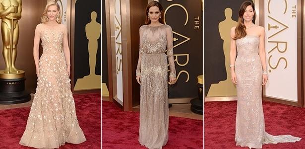 A discrição tomou conta das famosas e ficou nítida com a preferência por uma cartela de cores predominantemente clara, como nos looks de Cate Blanchett, Angelina Jolie e Jessica Biel - Getty Images
