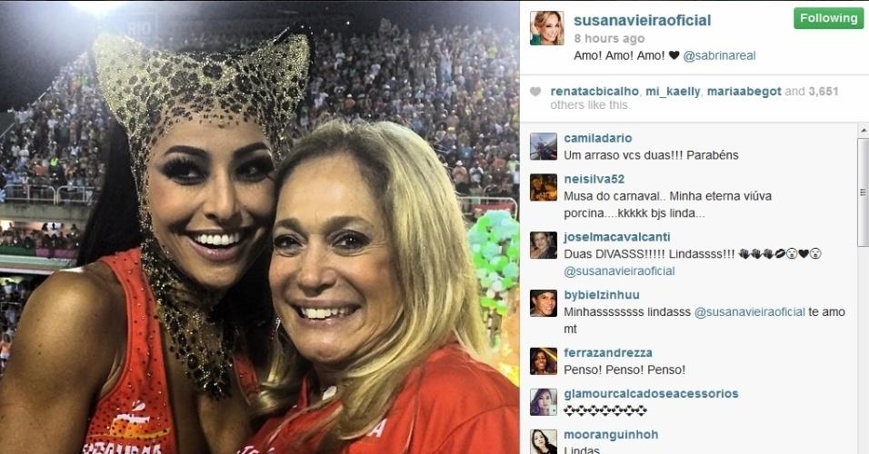 4.mar.2014 - Susana Vieira publica foto com Sabrina Sato na Marquês de Sapucaí