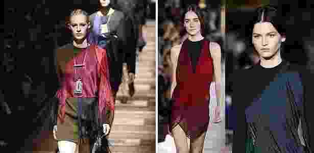 A imagem da esquerda, mostra o look com franjas apresentado pela Lanvin no dia 27 de fevereiro, já a da direita, mostra as criações de Stella McCartney, apresentadas na semana de moda de Paris em 3 de março - AFP