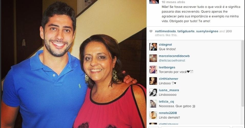 Marcelo fala sobre a mãe, Leda Zagonel, em rede social: