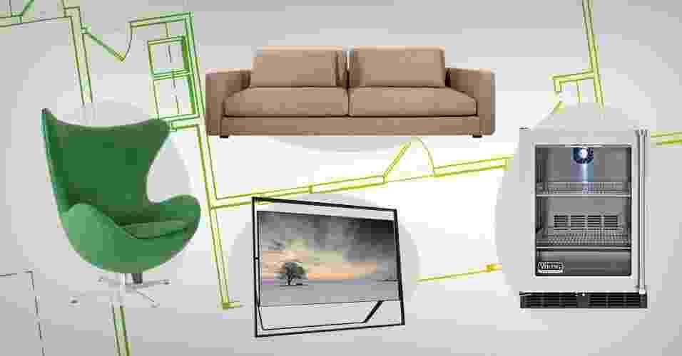 Nessa ambientação do estar, a TV e o frigobar dão um ar moderno aos móveis de design mais clássico - Arte UOL