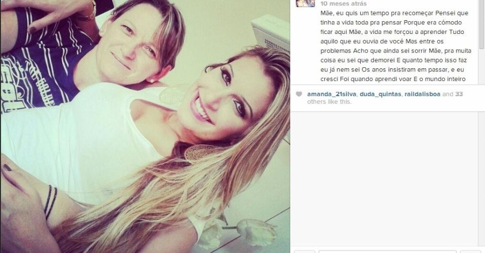 Tatiele faz homenagem a mãe, Erica Almeida Bvanut, em rede social