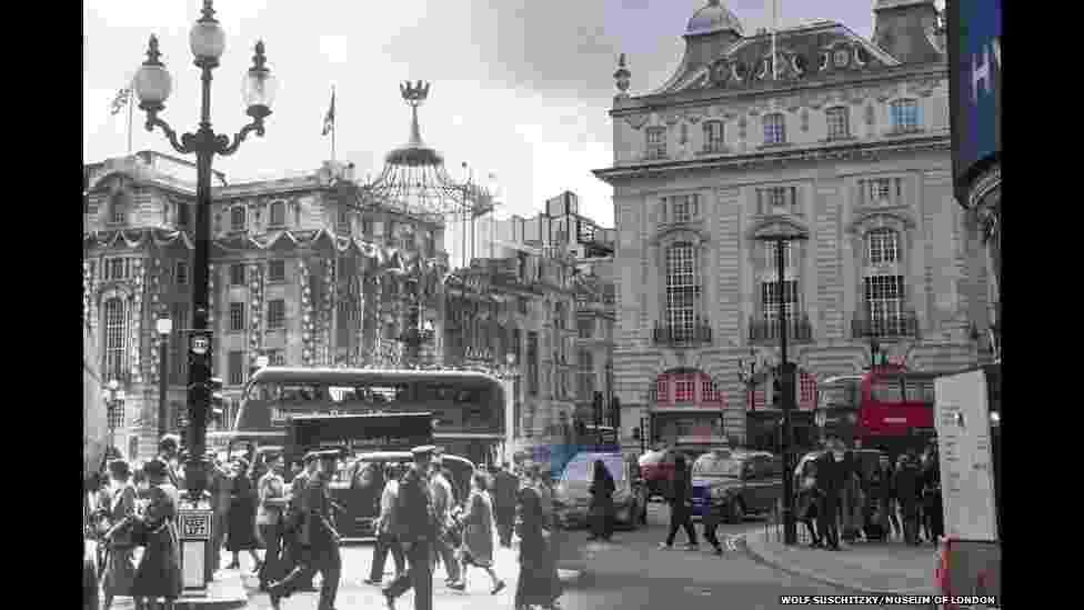 """O Museu de Londres divulgou montagens de imagens históricas de pontos conhecidos da capital britânica """"completadas"""" com fotos atuais, mostrando a transformação desses locais - London Museum"""