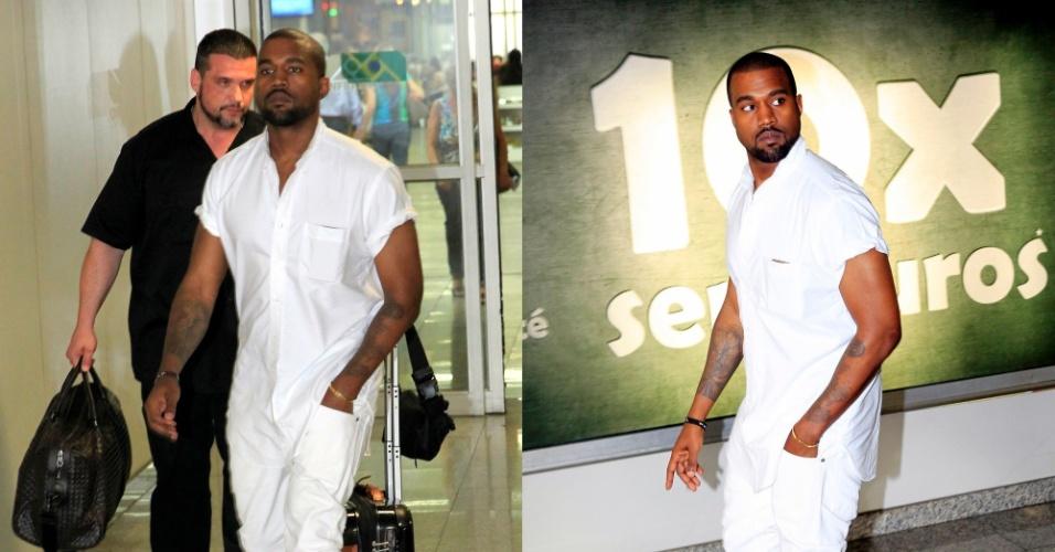08.mar.2014- Kanye West desembarca no Rio sem a companhia da mulher Kim Kardashian. O rapper deve marcar presença em algum camarote da Sapucaí no Desfile das Campeãs