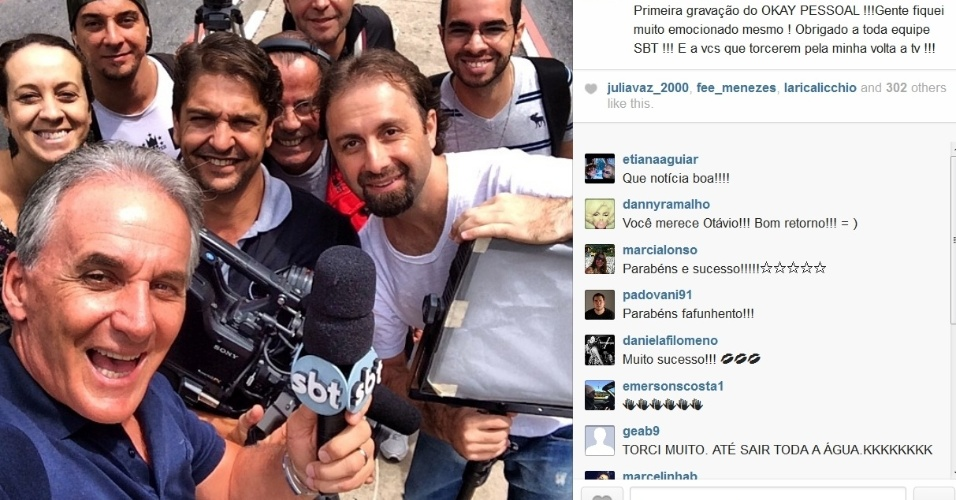 08.mar.2014- Otávio Mesquita faz primeira gravação para seu novo programa do SBT.