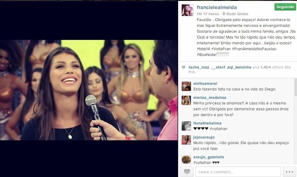 09.mar.2014 - Franciele publica foto da sua participação no Domingão do Faustão e escreve: