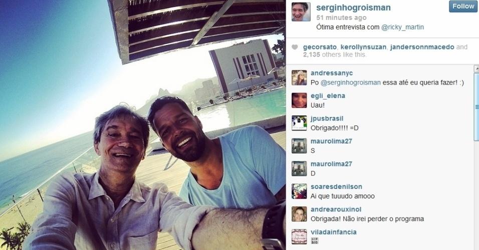 10.mar.2013 - Ricky Martin gravou entrevista com Serginho Groisman nesta segunda, no terraço do hotel onde está hospedado na zona sul do Rio