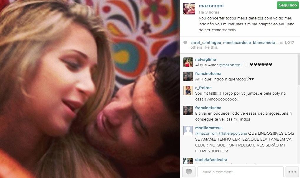 11.mar.2014 - Roni publica foto com Tatiele e se declara: