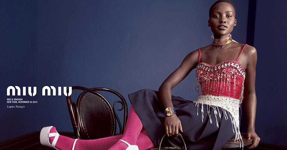 Lupita Nyong'o estrela a campanha de Verão 2014 da Miu Miu
