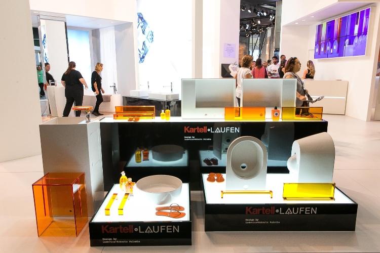 O lançamento para o público da coleção para salas de banho, Kartell by Laufen (www.br.laufen.com), assinada pelos designers italianos Ludovica e Roberto Palomba, aconteceu na Expo Revestir, de 11 a 14 de março de 2014, em São Paulo