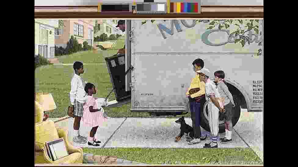 Obra de Norman Rockwell foi reproduzida na revista 'Look' em 1967, em artigo sobre a integração nos subúrbios - © 2013 the Norman Rockwell Family Entities