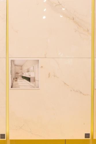 Uma reinterpretação do mármore, o revestimento Calacata Cremo é um porcelanato polido, lançado pela Biancogres (www.biancogres.com.br) na  12ª Expo Revestir, de 11 a 14 de março de 2014, em São Paulo