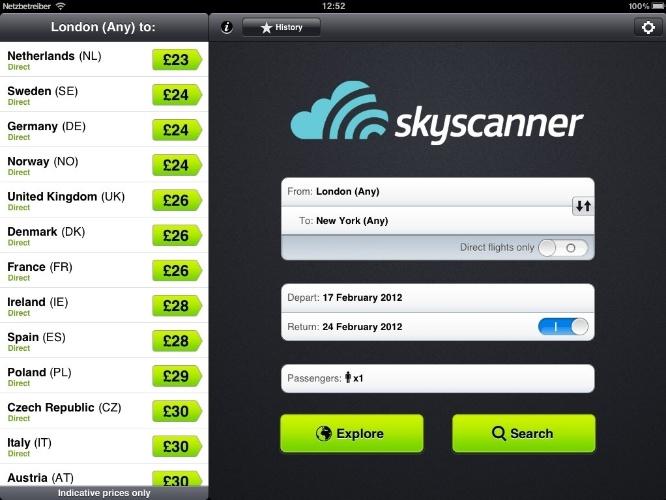 Para começar a viajar. O aplicativo Skyscanner (www.skyscanner.com.br) faz comparação de preços de passagens aéreas em mais de mil companhias, inclusive as brasileiras. Este serviço gratuito oferece opções de passagens mais econômicas de acordo com os dias da semana, bilhetes em promoção e filtros por horários e até por programa de fidelidade. Disponível para IOS e Android. Grátis.