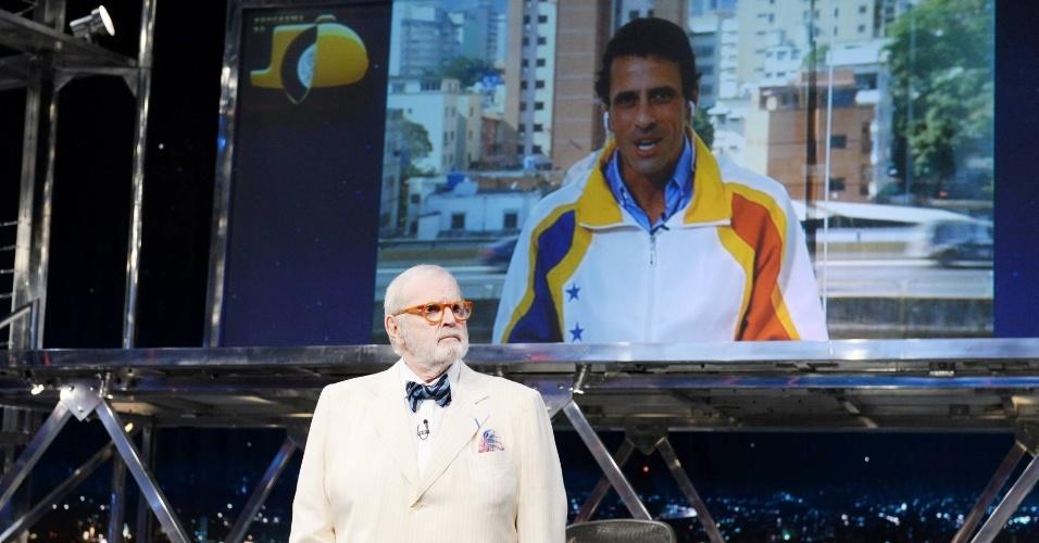 17.mar.2014 - Jô Soares em entrevista ao político venezuelano Henrique Capriles