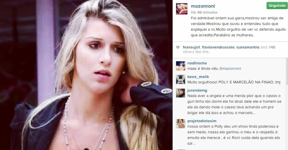 18.mar.2014 - Roni ficou orgulhoso por ver Tatiele ao lado de Marcelo após o curitibano ser acusado por Cássio de