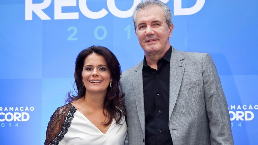 """Adriana Araújo e Celso Freitas, âncoras do """"Jornal da Record"""";   - Edu Moraes/Divulgação"""