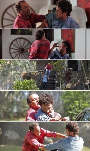 """20.mar.2014 - """"Em Família"""", Virgílio dá surra em Laerte"""