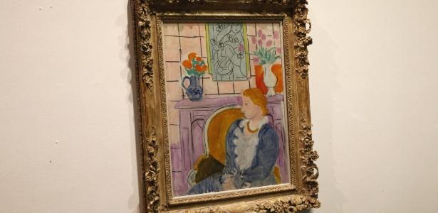 """Quadro """"Perfil Azul diante da Chaminé"""", de Henri Matisse, é exposto na galeria Henie Onstad em Oslo (Noruega), antes de ser devolvido aos herdeiros de um marchand judeu, de quem foi confiscado pela Alemanha nazista durante a Segunda Guerra - Terje Bendiks/EFE"""
