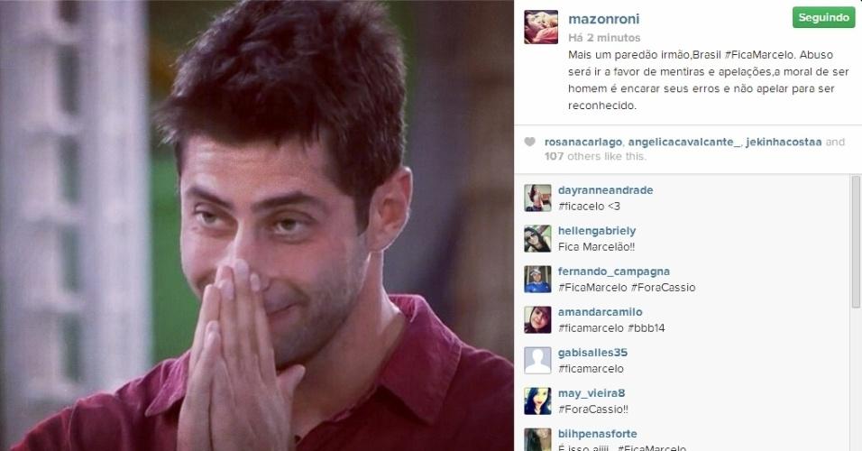 21.mar.2014 - Roni mostra apoio a Marcelo nas redes sociais:
