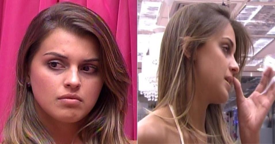mar.2014 - Angela cortou a franja e retocou as mechas do cabelo, que ficaram mais claras