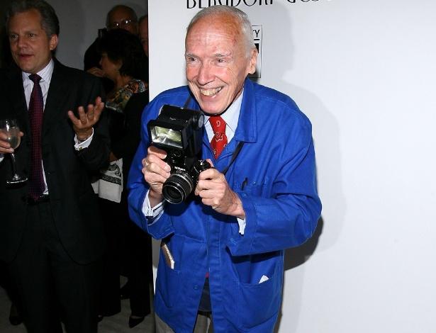 O fotógrafo Bill Cunningham participa de evento em 2008 em homenagem à sua carreira e organizado pela loja Bergdorf Goodman, em Nova York