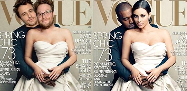 Os atores James Franco e Seth Rogen publicaram a montagem nas redes sociais  - Reprodução Instagram/Annie Leibovitz/Vogue/Montagem UOL