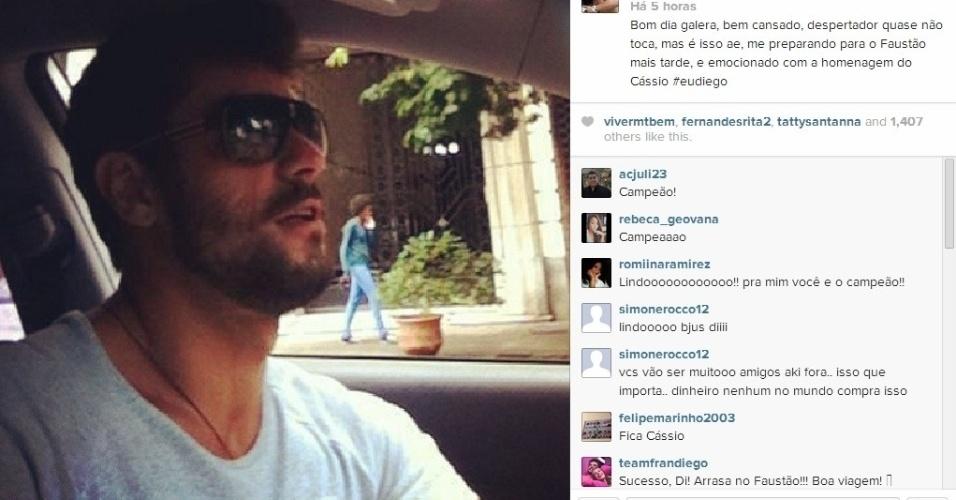 """23.mar.2014 - Em publicação, Diego disse que se preparava para participar do """"Domingão do Faustão"""" e agradeceu a homenagem de Cássio"""