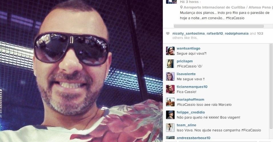 23.mar.2014 - Vagner postou foto no aeroporto de Curitiba (PR) e avisou que estava partindo para o Rio, para o paredão