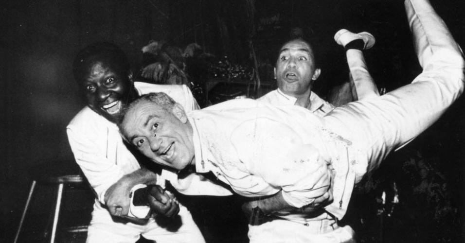 """29.abr.1990 -  Mussum, Renato Aragão e Dedé Santana, """"Os Trapalhões"""""""