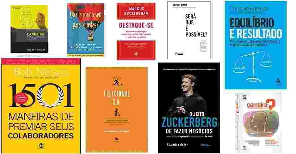 Consultores de carreira listaram 47 livros que podem ajudar a alavancar a sua vida profissional. Há opções que custam a partir de R$ 3 (usado). Confira a seleção | Por Simone Cunha, do UOL, em São Paulo - Montagem