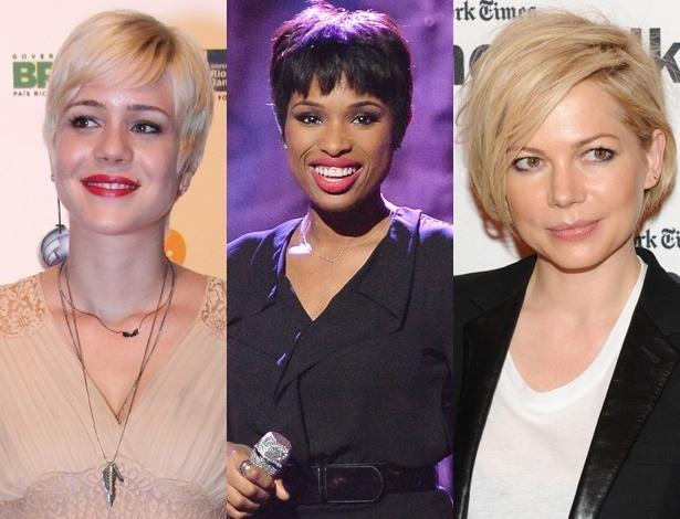 Da esq. para dir., Leandra Leal, Jennifer Hudson e Michelle Williams: todas adeptas dos fios curtos - AgNews/Getty Images