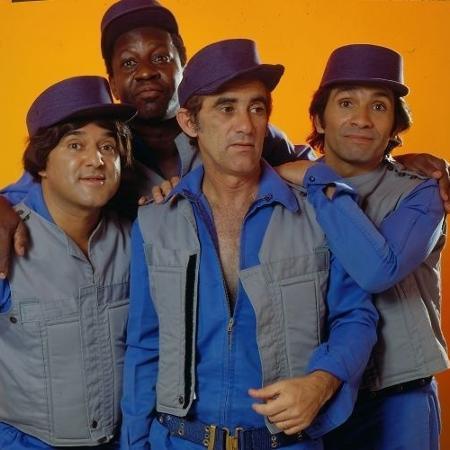 """""""Os Trapalhões"""" Zacarias, Mussum, Didi e Dedé vestidos na paródia do seriado americano S.W.A.T., apresentada no final dos anos 70 - Divulgação"""