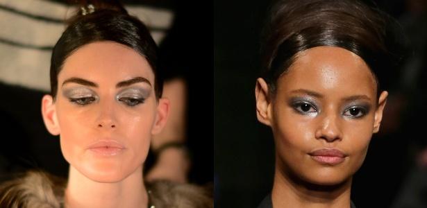 A grife Donna Karan investiu na sombra prata no canto interno dos olhos; a make ganhou ar futurista - Getty Images/Montagem/UOL