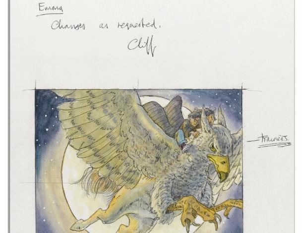"""Rascunho feito à mão, em tinta e aquarela, pelo artista britânico Cliff Wright para a capa do livro """"Harry Potter e o Prisioneiro de Azkaban"""", de 1999 - Reprodução/Nate D. Sanders"""