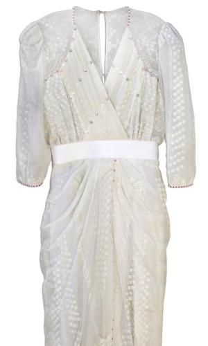 Vestido de coquetel em chiffon branco usado pela princesa Diana, feito à mão pela estilista inglesa Zandra Rhodes