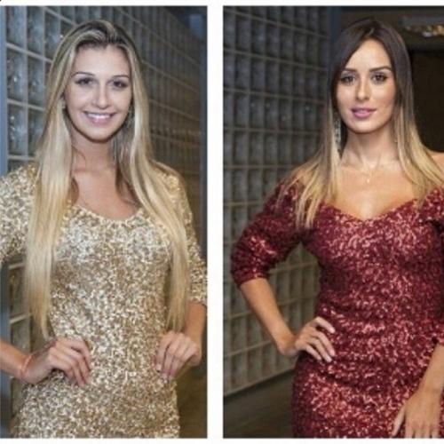 """26.mar.2014 - Letícia postou uma montagem com Tatiele e escreveu: """"Mesma porcentagem, mesmo vestido!"""". No confinamento, elas já haviam conversado sobre as roupas iguais e ambas deixaram a casa com 54%"""