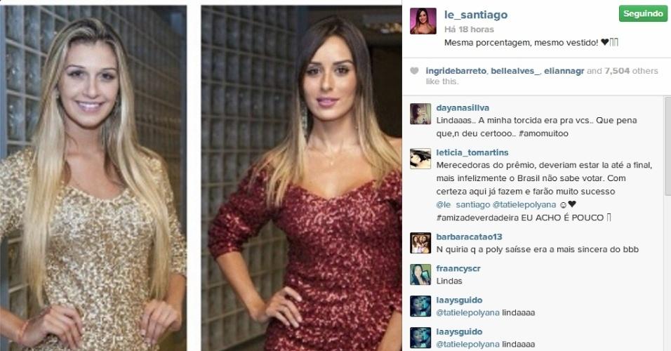 26.mar.2014 - Letícia postou uma montagem com Tatiele e escreveu: