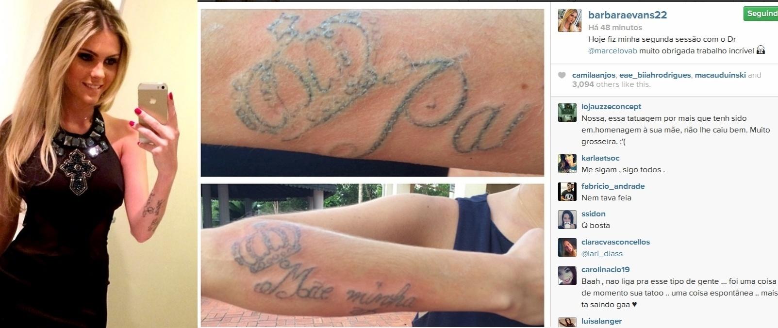 28.mar.2014- Bárbara Evans mostra resultado de segunda sessão para remoção de duas tatuagens que fez em homenagem aos pais