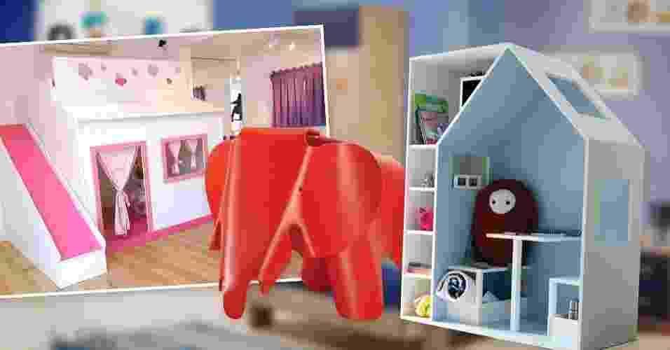 montagem para abrir álbum de Gravidez e Filhos com móveis que funcionam como brinquedos - Montagem/Arte UOL